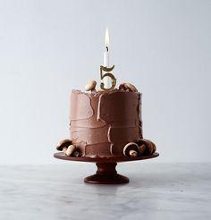 chocolate birthday cake on Herriott Grace stand