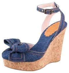RED Valentino Denim Bow Blue Denim Wedges $130