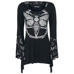 Hooded Deathmoth Pentagram Longsleeve - Long-sleeve Shirt by Gothicana by EMP