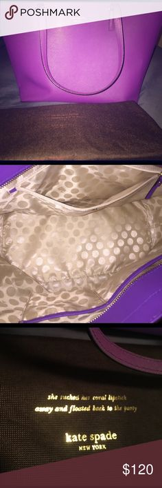 Kate Spade handbag Purple large Kate Spade handbag with dust bag. Perfect condition. Used a handful of times. kate spade Bags