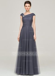 A-Line/Princess Floor-Length Tulle Mother of the Bride Dress With Ruffle Beading Sequins (008062861) - JJsHouse