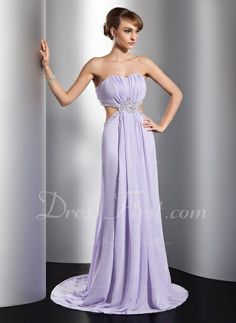 A-Line/Princess Sweetheart Sweep Train Ruffle Beading Sequins Split Front Zipper Up Strapless Sleeveless No Lilac Spring Summer Fall General Plus Chiffon Evening Dress Wedding Party Dresses, Prom Dresses, Formal Dresses, Chiffon Evening Dresses, Strapless Dress Formal, Ruffle Beading, Ruffle Dress, Special Occasion Dresses, Lilac