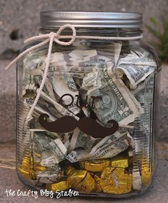 """The Crafty Blog Stalker: Money """"Stache"""" Jar Wedding Gift"""