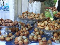 Muffin bar for brunch wedding.
