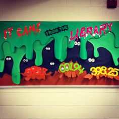 My library bulletin board for October, with a little library humor.  Insects.  Mysteries.  Scary Stories.