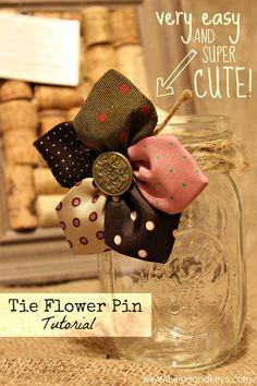 Little Girl Tutus : Neck Tie Flower Pin: Tutorial Diy Necktie Projects, Mens Ties Crafts, Neck Tie Crafts, Fabric Crafts, Sewing Crafts, Sewing Projects, Diy Fleur, Old Ties, Creation Couture