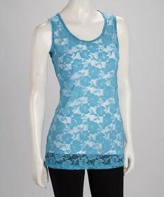Take a look at this Blue Floral Lace Sheer Tank by Citi Life on #zulily today!