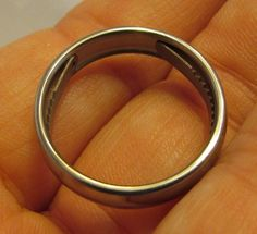 Titanium Escape Ring - can be used to cut through binding if you are tied up. Not sure who invented this, or what happened in their life to lead to this, but somebody out there is thankful it is real!