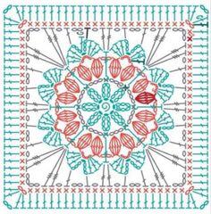 Crochet Motif Patterns, Chunky Knitting Patterns, Granny Square Crochet Pattern, Crochet Mandala, Crochet Diagram, Crochet Squares, Crochet Granny, Crochet Stitches, Motifs Granny Square