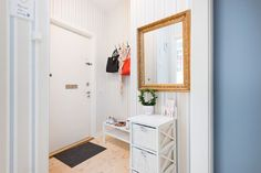 kis lakás garzon kis terek skandináv stílus kék fal