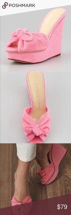 charlotte olympia jayne knotfront  wedge 38 pink Charlotte Olympia Women's Pink Jayne Towelling Wedges We check over 450 retailers daily and we last saw this product for $354  Bought from Last Call 38 Worn once! Charlotte Olympia Shoes Mules & Clogs