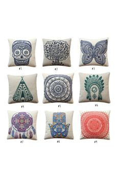 Are you looking to make your space more lively?& These linen blend pillow covers are Boho inspired Mendhi art with beautiful colors and patterns.& Great to liven up your space! Bohemian Chic Fashion, Boho Chic, Plus Size Bohemian Clothing, Meditation Pillow, Dream Catcher Boho, Bohemian Living, Boho Decor, Hippie Boho, Peace And Love