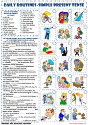 simple present tense daily routines exercises worksheet icon