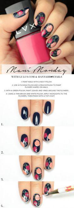 Mani Monday: Blue Floral Print Nail Tutorial (Lulus.com Fashion Blog)