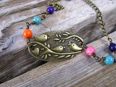 Brass Bird Charm Necklace With Turquoise Beads by lillianschmoo, $12.95