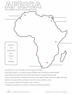 Great worksheets for no plan sub days! Worksheets: Map of Africa