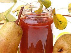 This pear jam recipe, a simple and easy canning recipe to preserve juicy pears for all year enjoyment, prepares sweet and lip smacking mildly spiced jam that can be used in many recipes. Easy Canning, Canning Recipes, Pear Recipes, Raw Food Recipes, Chutneys, Pear Preserves, Pear Jam, Homemade Jelly, Jam And Jelly