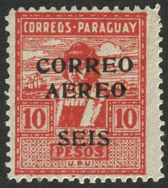 Paraguay Scott #C33 (issued 1930) Christopher Columbus with black 6 peso Air Mail surcharge on 10 peso red stamp (#306).