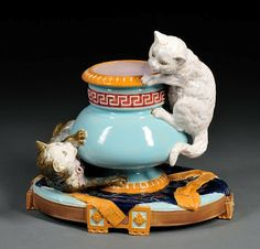 Vintage majolica playing cats vase by Brownfield