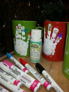 snowman mugs... for more projects and activities.....https://www.facebook.com/toddlertimetips