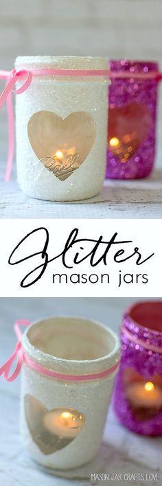 Valentine Mason Jar Craft - Glitter Mason Jar Votive @Mason Jar Crafts Love www.masonjarcraftslove.com