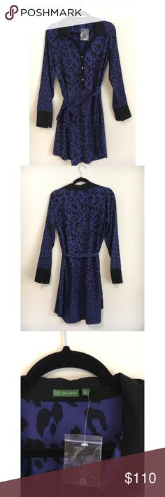 The Letter SILK Cheetah Print Shirtdress BRAND NEW, NEVER WORN dress. Tags went missing somewhere, but additional button is still attached.    Designer says this dress is Navy, but I'd say its more on the purple(ish) side.    Silk woven dress    Graphic print throughout, contrast pointed collar and front placket, optional tie belt at waist, side vents, rounded hem, tonal top stitching, panel seaming. The Letter Dresses Mini