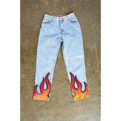 Repurposed Levis Flame Pant from Forever Shop more products from Forever 21 on Wanelo. Painted Jeans, Painted Clothes, Diy Clothes Paint, Painted Shorts, Diy Clothing, Custom Clothes, Diy Fashion, Fashion Outfits, Fashion Design