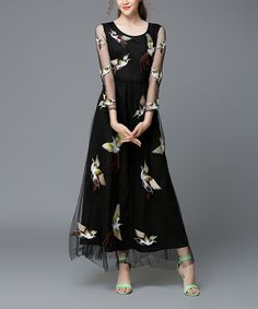 Look at this OCHANAL Black & White Bird Layered A-Line Dress - Plus Too on #zulily today!