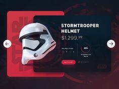 Star Wars / Stromtrooper Helmet UI by Eray Yesilyurt - Dribbble Website Design Inspiration, Website Design Layout, Web Layout, Layout Design, Slider Design, Slider Ui, Card Ui, Web Mobile, Ui Web