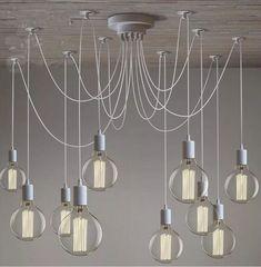 Lustre Com 10 Lâmpadas Pendente Preto - Thomas Edison