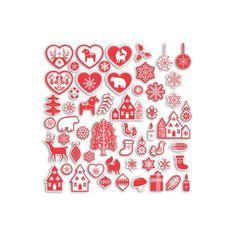 75 étiquettes découpées Formes en papier appartenant à la collection Noël Nordique parfaites pour vos projets de scrapbooking et de décoration!