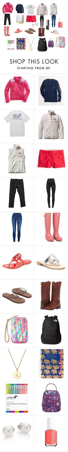 """""""Preppy outfits"""" by oliviabargatze on Polyvore featuring Vineyard Vines, Patagonia, NIKE, J.Crew, lululemon, David Lerner, Hunter, Tory Burch, Jack Rogers and Rainbow"""