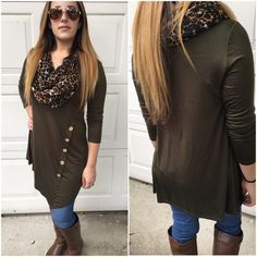 1 medium left❗️Olive Side button tunics Olive tunic with side button asymmetrical hem. Please do not purchase this listing. Comment with size and I will create a new listing for you. Small (2/4) Medium (6/8) Large (10/12). Price is firm unless bundled. 1 mefium & 1 large left Tops Tunics