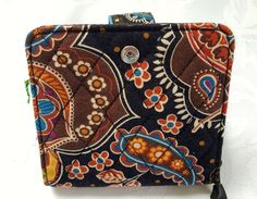 Vera Bradley Kensington Brown Fold over Mini zip Wallet Coin Purse ID window #VeraBradley #MiniZipWallet