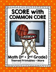 Score With Common Core {Math Basketball Themed Printables + Cute Craft}  Grades 1-2