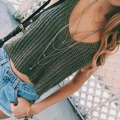 Green knit tank top