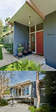 Modern twist on a ranch house;) white trim, red / orange door. Repinned by Secret Design Studio, Melbourne. www.secretdesignstudio.com