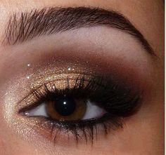 Gold, Sparkles and brown smokey eye