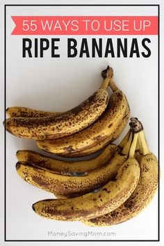 Do you often buy a bunch of bananas, only to watch them turn black on your kitchen counter? Here are 55 different ways to use up those ripe bananas, so that they don't go to waste! I LOVE some of these great ideas and recipes!!