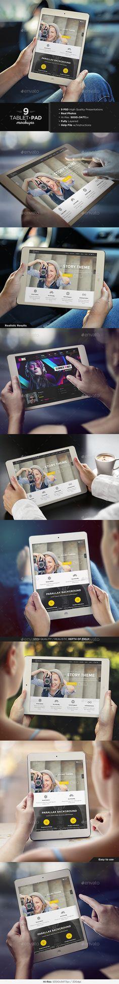 Tablet / iPad Mock-Up Set | #tabletmockup #ipadmockup | Download: http://graphicriver.net/item/tablet-pad-mockup-set/8899931?ref=ksioks