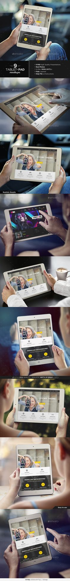 Tablet / iPad Mock-Up Set | #tabletmockup #ipadmockup | Download: http://graphicriver.net/item/tablet-pad-mockup-set/8899931?ref=ksioks
