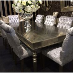 Gorgeous dining table and crushed velvet chairs