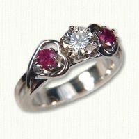 Celtic Twin Hearts Engagement Ring set with a Round Diamond and side rubies -  All stones available & gemstones