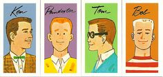 """The """"boyfriends"""" including Poindexter from the Barbie board game Queen of the Prom, 1960s"""