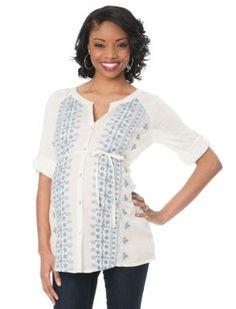 Convertible Sleeve Split Neck Button Front Maternity T Shirt