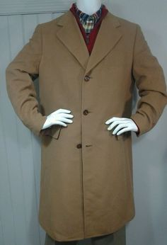 Vintage CASHMERE Coat Dhalishan Camel Tan Over Top Trench USA Mens sz 44 L in Clothing, Shoes & Accessories, Vintage, Men's Vintage Clothing | eBay