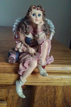 Dollstone Fairy Faerie Key to My Heart Flowers in Hair Love Potion Pink Silver  #Boyds #loveAnniversaryValentine