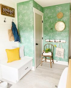 """This forgotten corner of our farmhouse laundry room was due for some cheer. An """"erased chalkboard"""" look on the walls, followed by a stencil, really brightened it up!"""
