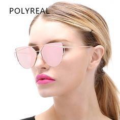 POLYREAL New Fashion Women Cat Eye Sunglasses Brand Designer Female Alloy Mirror Sun Glasses For Ladies Cateye Optical Frames //Price: $10.99 & FREE Shipping //     #hashtag4