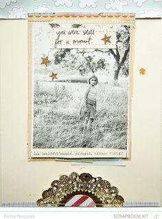 Scrapbook inspiration by Becky Novacek. I absolutely love the stitching.